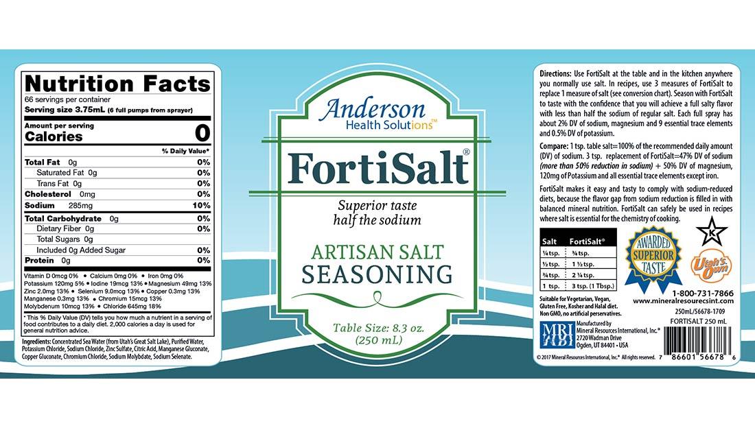FortiSalt 8.3oz label design